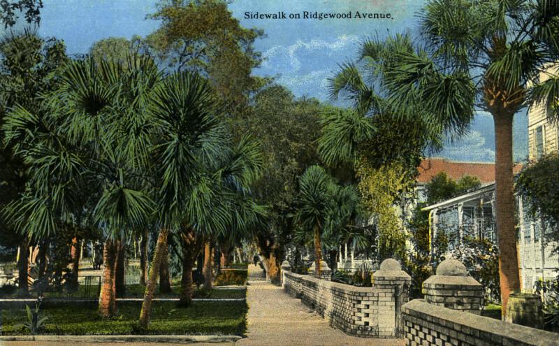 A Sidewalk on Ridgewood Avenue in Daytona, Florida