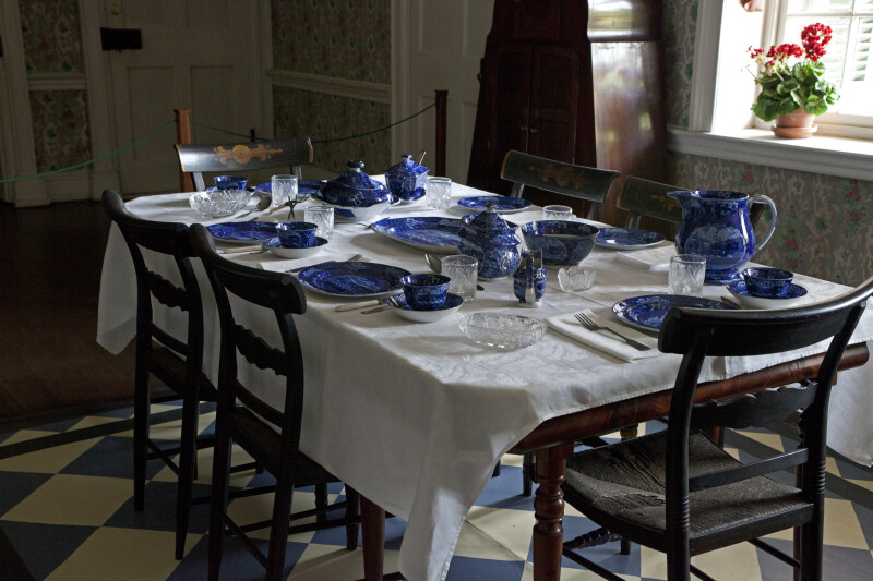 A Table Set with Transfer-Printed Dinnerware
