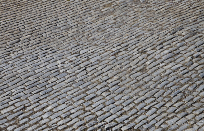 A Tightly-Packed Pavement of Angular Cut Stones