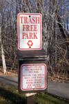 A Trash Free Park Sign