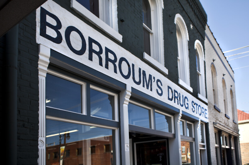 A View of a Portion of the Front Facade of Borroum's Drug Store