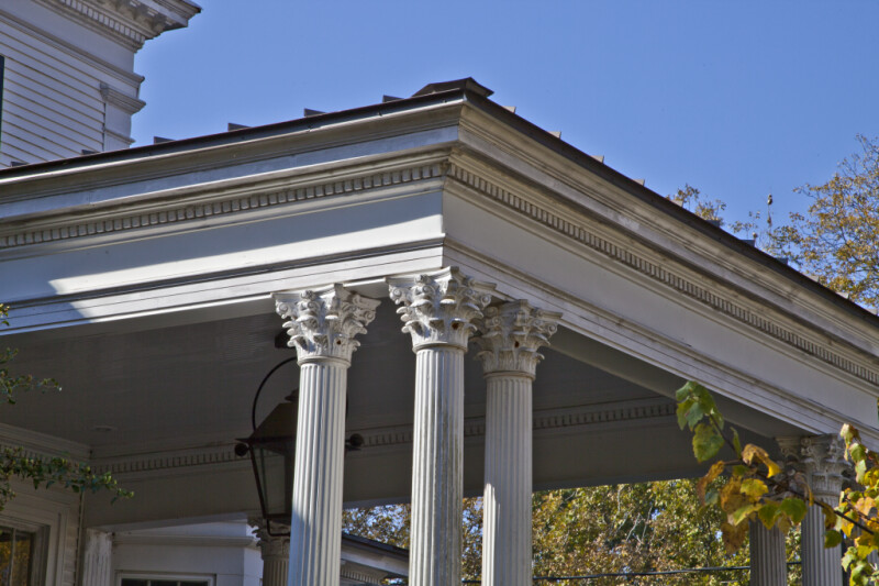 A View of Fluted Columns with Corinthian Capitals