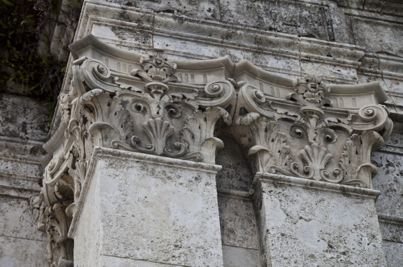 A View of Pilasters with Ornate Capitals