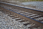 A View of Railroad Tracks and Ties in a Gravel Bed