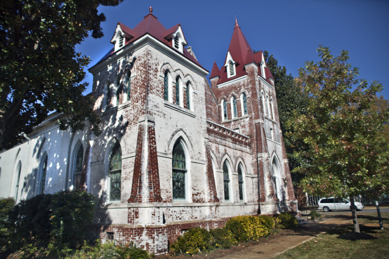 A View of the Engaged Step Buttresses of the Fillmore Street Chapel