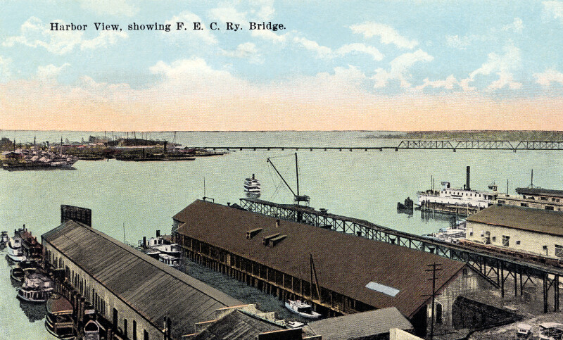 A View of the Harbor and the F. E. C. Bay Bridge