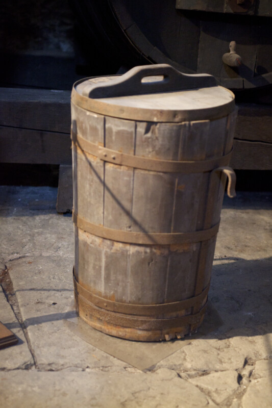 A Wood Bucket with a Wood Lid