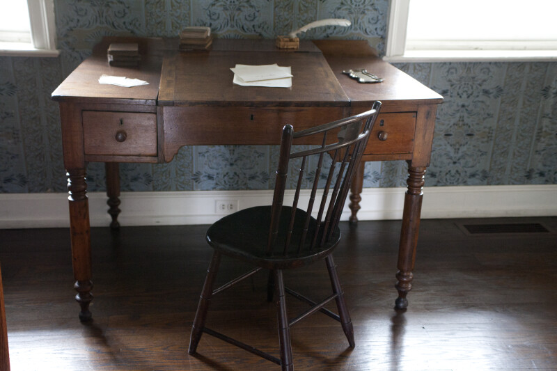 A Wooden Chair at a Desk