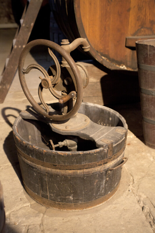 A Wooden Tub with a Rotary Crank