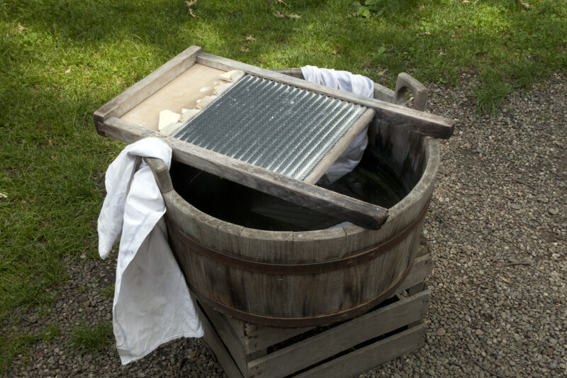 A Wooden Tub with a Washboard