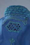 Afghanistan Embroidered Face Veil and Cap of Blue Silk Burqa (Close Up)
