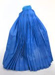 Afghanistan Woman Wearing Blue Silk Burqa (Back View)