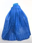 Afghanistan Woman Wearing Blue Silk Burqa (Back View)