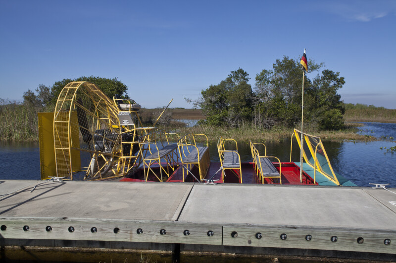 Airboat with a Miccosukee Indian Flag at its Front