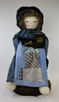 Alabama Stuffed Cloth Pioneer Woman Holding a Hand Made Quilt and Bible (Full View)