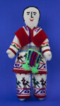 Alaska Handcrafted Native American Indian with Cross-stitch on Clothing and Face (Full View)