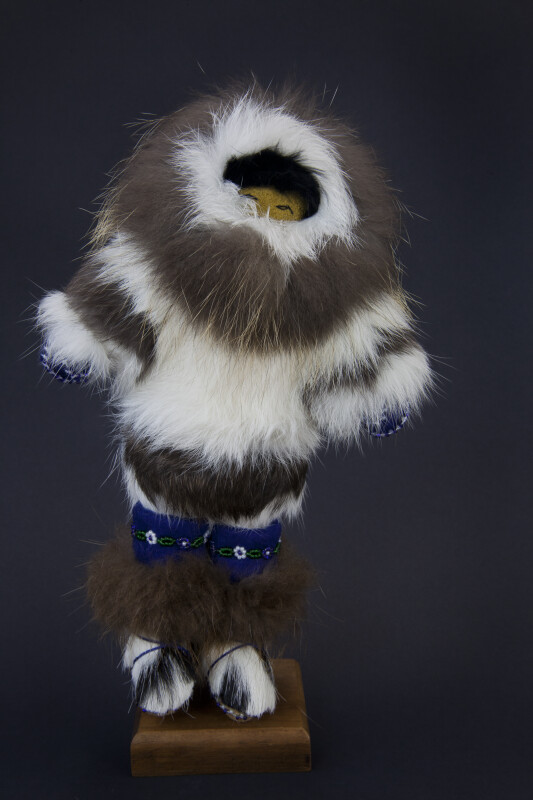 Alaskan Eskimo Doll Handcrafted from Fur (Full View - Dark Background)