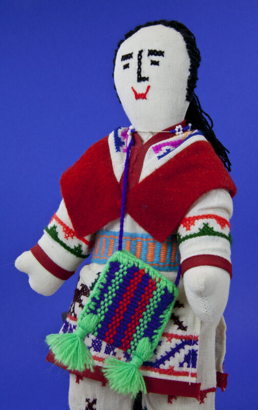Alaskan Indian Doll Handcrafted  with Cross-stitch designs (Close Up)