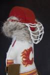 Alberta Canada Hockey Goalie Made with Reindeer Fur (Side Close Up)