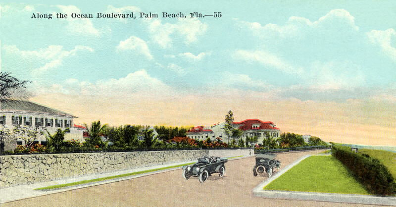 Along the Ocean Boulevard in Palm Beach, Florida