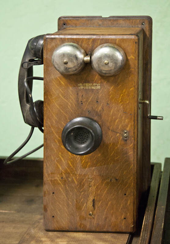An Antique Wooden Wall Phone
