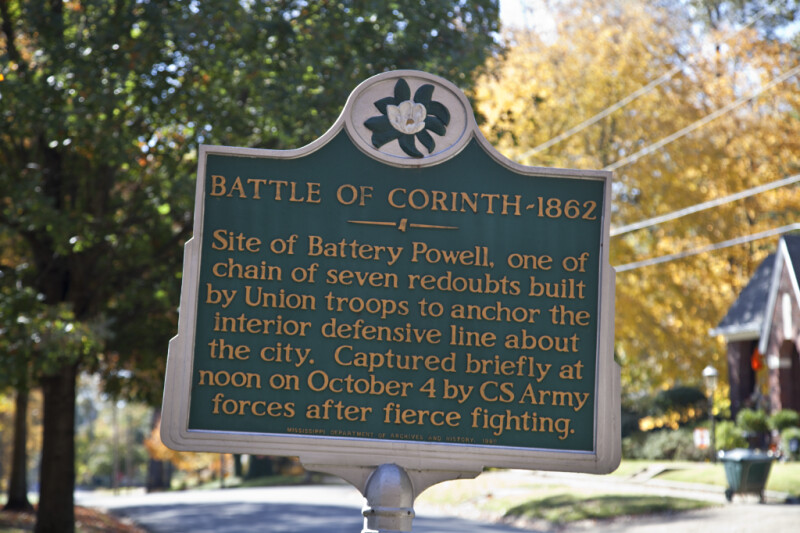 An Historic Marker Showing the Site of Battery Powell