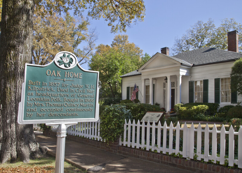 "An Oblique View of the ""Oak Home,""  with an Associated Historic Marker"