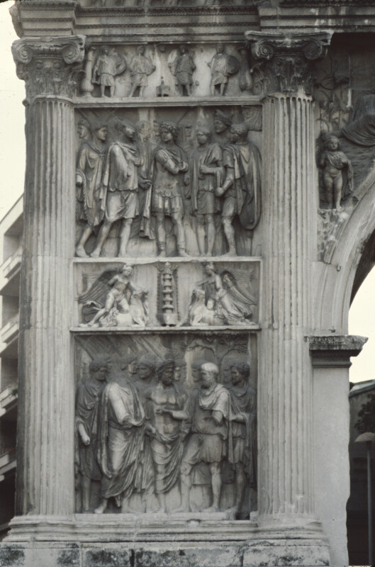 Arch of Trajan, Benevento, Side Facing the Provinces, Left Panels, Recruitment of Legions and Pacification of German Provinces