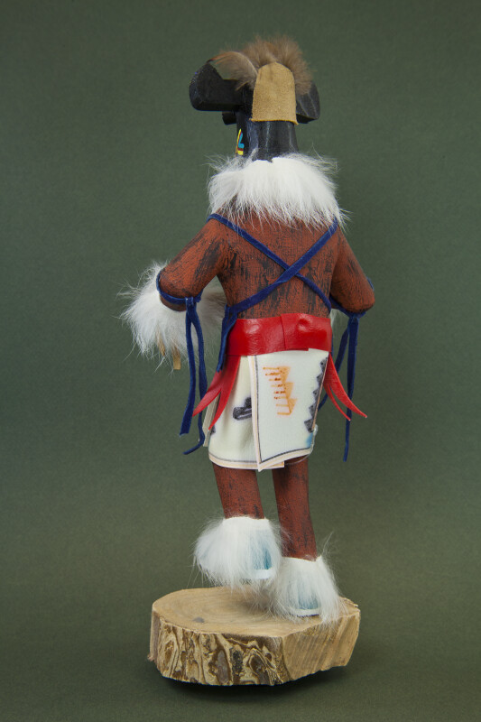 Arizona Dancing Kachina Doll Made from Wood, Leather, Feathers, and Vinyl (Back View)