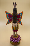 Arizona Hand Carved Butterfly Maiden Hopi Figure with Long Black Hair and Colorful Wings (Back View)