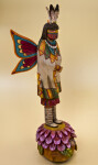 Arizona Handcrafted Hopi Kachina Figure of Butterfly Maiden Standing on Flower Petals (Three Quarter View)