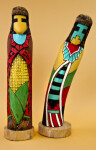Arizona Hopi Corn Dolls Carved Out of Wood and Painted in Vivid Colors (Full View)