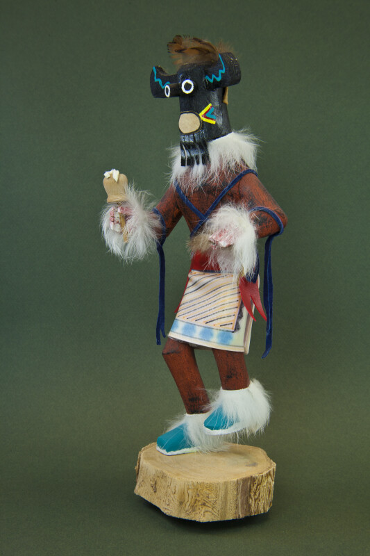 Arizona Indian Kachina Made from Wood with Feathers and Fur Trim (Three Quarter View)