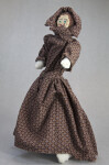 Arkansas Pioneer Doll Made from Corn Cobs with Dress and Bonnet (Three Quarter View)