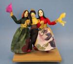 Lebanon Three Dancers Performing a Folk Dance in Cultural Costumes (Full View)