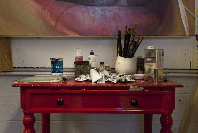 Artist's Paint Sitting on a Desk
