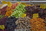 Assorted Dried Fruits at the Spice Bazaar in Istanbul, Turkey
