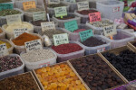 Assorted Spices and Fruits at an Outdoor Market in Kusadasi