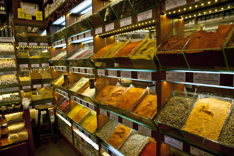 Assorted Spices at the Spice Bazaar in Istanbul, Turkey