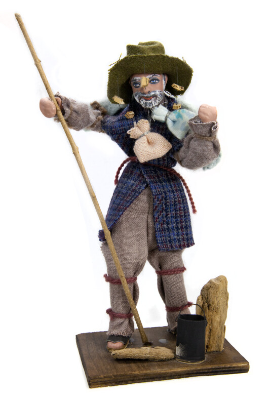 Australian Swagman Doll with Swag and Cork Hat (Full View)