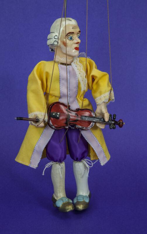 Austria Mozart Doll with Violin as Marionette (Three Quarter View)