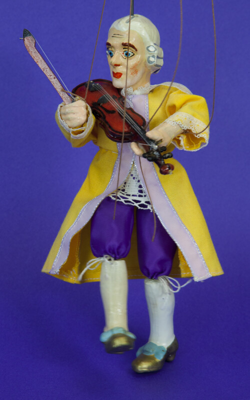Austrian Handcrafted Marionette of Mozart in Traditional Clothing (Three Quarter View)