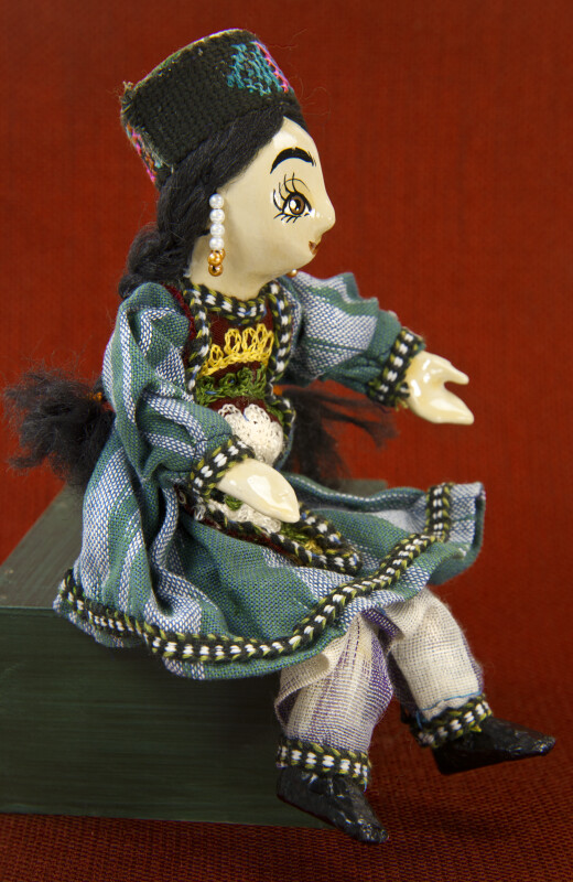Azerbaijan Hand Painted Female Doll with Beaded Earrings (Three Quarter View)