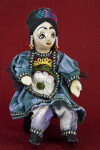 Azerbaijan Handcrafted Doll with Embroidered Pillbox Cap (Full View Seated)