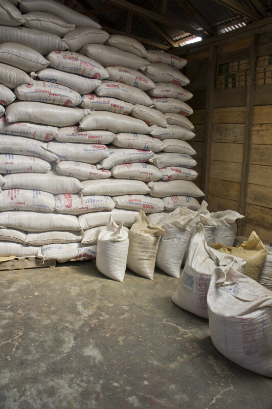 Bags of Unroasted Coffee Beans