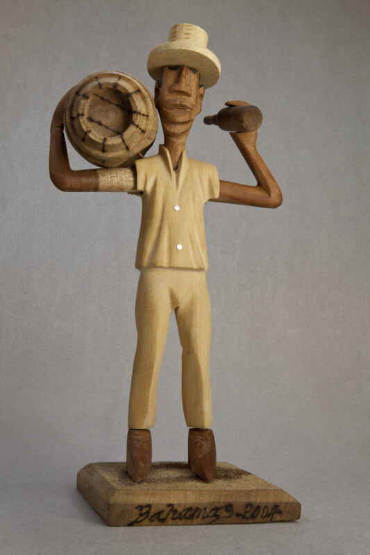 Bahamas Hand Carved Bahamian Man Holding a Keg (Full View)