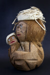 Bahamas Handcrafted Coconut Shell Mother Holding Baby (Three Quarter View)