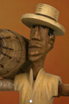 Bahamas Handcrafted Face and Hat of Bahamian Doll Made from Wood (Close Up)
