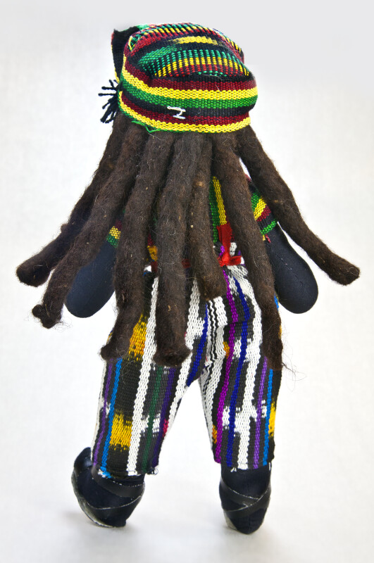 Bahamian Stuffed Cloth Man with Dreadlocks Made from Yarn (Back View)