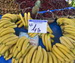 Bananas on Sale at an Outdoor Market in Kusadasi